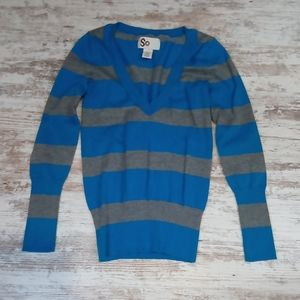 SO Blue and Gray Striped V Neck Knit Sweater Top